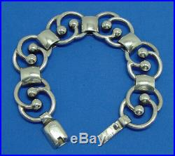 Hector Aguilar 1940s Mexican Taxco Very Heavy Solid Sterling Silver Bracelet