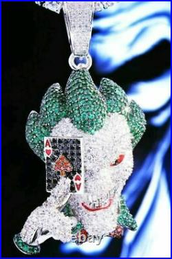 HipHop Style Diamond Studded Lucky''JOKER'' Pendant Solid 925 Sterling Silver