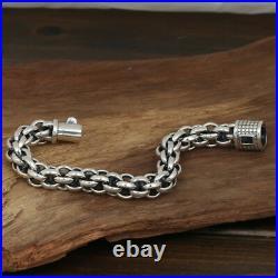 Huge Heavy Men's Solid 925 Sterling Silver Bracelet Chain Loop Jewelry 8.5 Gift
