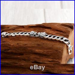 Huge Heavy Men's Solid 925 Sterling Silver Bracelet Link Chain Leopard Jewelry