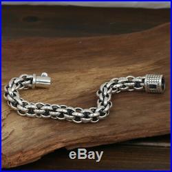 Huge Heavy Men's Solid 925 Sterling Silver Bracelet Link Chain Loop Jewelry 8.5