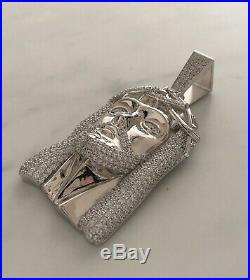Huge Iced Solid 925 Sterling Silver Jesus Christ Hip Hop White Gold Religious