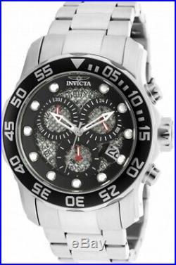 Invicta Men's Watch Pro Diver Chrono Black Dial Stainless Steel Bracelet 19836
