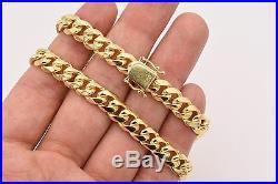 Italian 9 Solid Miami Cuban Bracelet Double Lock 14K Yellow Gold Clad Silver