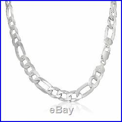 Italian Mens 11mm Thick Figaro Chain Solid Sterling Silver 925 Necklace Bracelet