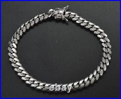 Italian Mens Miami Cuban Solid Sterling Silver 925 Bracelet. 81/2 26.8gr BM41