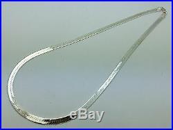 Italian Solid 925 Sterling Silver Herringbone Necklace 20 5.3mm