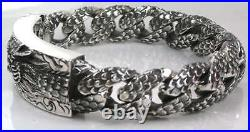 Japanese Dragon ID Solid 925 Sterling Silver Mens Chain Bracelet Biker Heavy Big