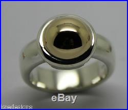 Kaedesigns Genuine Full Solid Sterling Silver & 9ct Yellow Gold Half Ball Ring