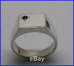 Kaedesigns MENS SOLID STERLING SILVER BLACK SAPPHIRE SQUARE SIGNET RING