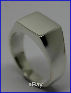 Kaedesigns New Size W Mens Solid Sterling Silver Square Signet Ring