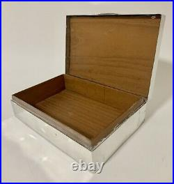 Large Antique Solid Sterling Silver Cigarette Cigar Box Wooden Lined 1907