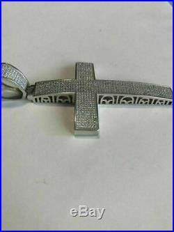 Large Solid 925 Silver Mens Cross 5ct Diamonds 3.25 BIG Hip Hop Pendant Jesus