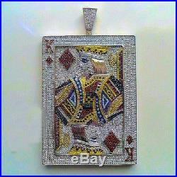 Luxury Solid 925 sterling silver iced Out Big Pendant Cards King Red Games poker