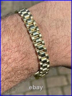 Men 14k Gold Vermeil Solid 925 Sterling Silver Plain Presidential Link Bracelet