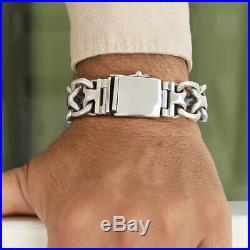 Men Biker Heavy Wide Bracelet Solid 925 Sterling Silver 2 Width Size 7 8 9 10