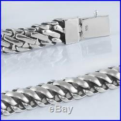 Men Biker Heavy Wide Chain Bracelet Solid 925 Sterling Silver Size 8.7 22cm 86g