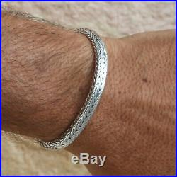 Men Heavy Bracelet 925 Solid Sterling Silver Bangle Gift Size 7 7.5 8 8.5 9 10