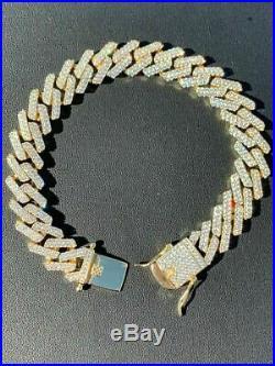 Men Prong Miami Cuban Bracelet 8.5 14k Gold Over Solid 925 Sterling Silver 12mm