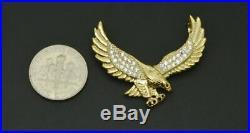 Men's 10K Solid Yellow Gold Finish 2.00 CT Diamond Eagle Pendant Charm Piece