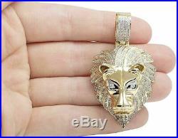 Men's 10K Solid Yellow Gold Finish 2.00 CT Diamond Lion Head Pendant Charm Piece