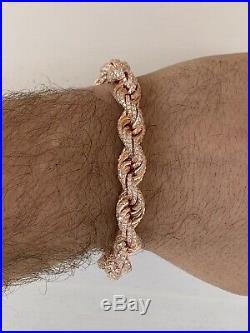 Men's 10mm Rope Bracelet Rose Gold & Real Solid 925 Sterling Silver 20ct Diamond