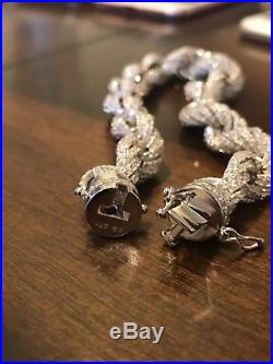 Men's 12mm Rope Bracelet Real Solid 925 Sterling Silver 25ct Diamonds Super ICY