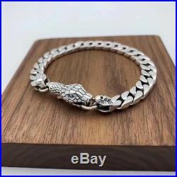 Men's 20cm Solid 925 Sterling Silver Cobra Skulls Flat Curb Chain Bracelet