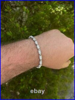 Men's Barrel Tennis Bracelet Solid 925 Sterling Silver Iced Flooded Out Hip Hop