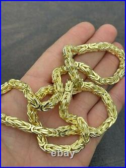 Men's Byzantine Chain Real Solid 925 Sterling Silver 14k Gold Finish 6mm 18-30