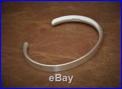 Men's Gents Matte Look Solid Sterling Silver Open Bangle Torque Bracelet