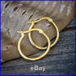 Men's High Quality Gold Plated 925 Sterling Silver Solid Huggie Hoop Earrings