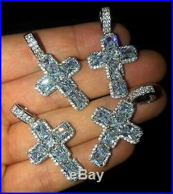 Men's Iced Cross Solid 925 Sterling Silver Pendant Hip Hop
