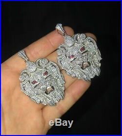 Men's Iced Lion Solid 925 Sterling Silver Pendant Hip Hop
