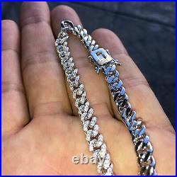Men's Iced Miami Cuban Bracelet Solid 925 Sterling Silver Micro Pave 8.5 x 6 MM