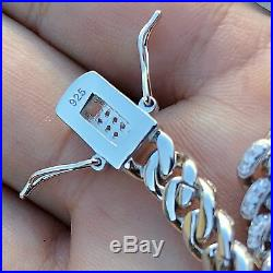 Men's Iced Miami Cuban Bracelet Solid 925 Sterling Silver Micro Pave 8 x 6 MM
