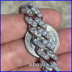 Men's Iced Solid 925 Sterling Silver Miami Cuban Bracelet Heavy 8 x 12 mm Thick