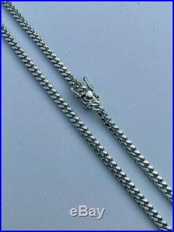 Men's Miami Cuban Chain Solid 925 Sterling Silver 4mm 18-30 Box Lock Necklace
