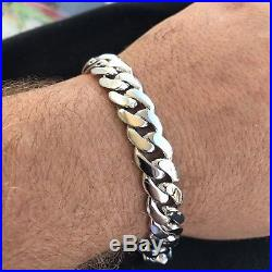 Men's Miami Cuban Link Bracelet Real Solid 925 Sterling Silver 1ct Diamond Clasp