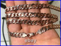 Men's Miami Cuban Link Chain Rose Gold Over Solid 925 Sterling Silver 8mm Italy