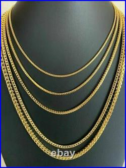 Men's Real 14k Gold Over Solid 925 Sterling Silver Franco Chain 2-5mm Necklace