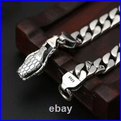 Men's Real Solid 925 Sterling Silver Bracelet Jewelry Snake Animal Braided 7.9