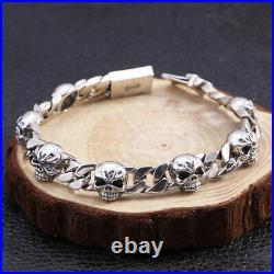 Men's Real Solid 925 Sterling Silver Bracelet Link Skull Braided Fashion 7.9