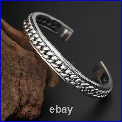 Men's Real Solid 925 Sterling Silver Cuff Bracelet Braided Open Jewelry