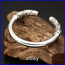 Men's Real Solid 925 Sterling Silver Cuff Bracelet Hoop Auspicious Cloud Open