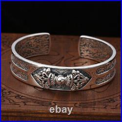 Men's Real Solid 925 Sterling Silver Cuff Bracelet Vajra Pattern Open Jewelry