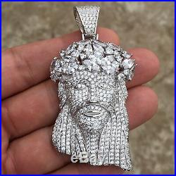 Men's Real Solid 925 Sterling Silver Jesus Pendant Iced Flooded Baguettes Crown
