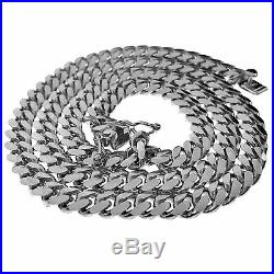 Men's Real Solid 925 Sterling Silver Miami Cuban Chain Italy Necklace 18 Choker