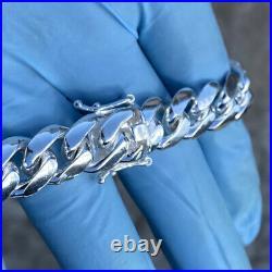 Men's Real Solid 925 Sterling Silver Miami Cuban Link Bracelet Heavy 8 x 12 mm