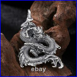 Men's Real Solid 925 Sterling Silver Pendants Dragon Animal Fashion Jewelry